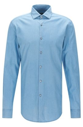 Regular-fit shirt in soft Italian denim, Dark Blue