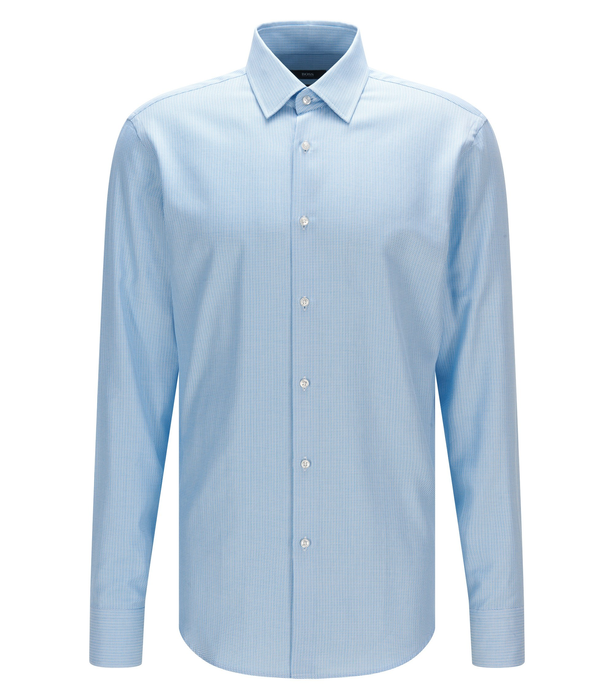 Regular-fit shirt in micro-structure cotton, Turquoise