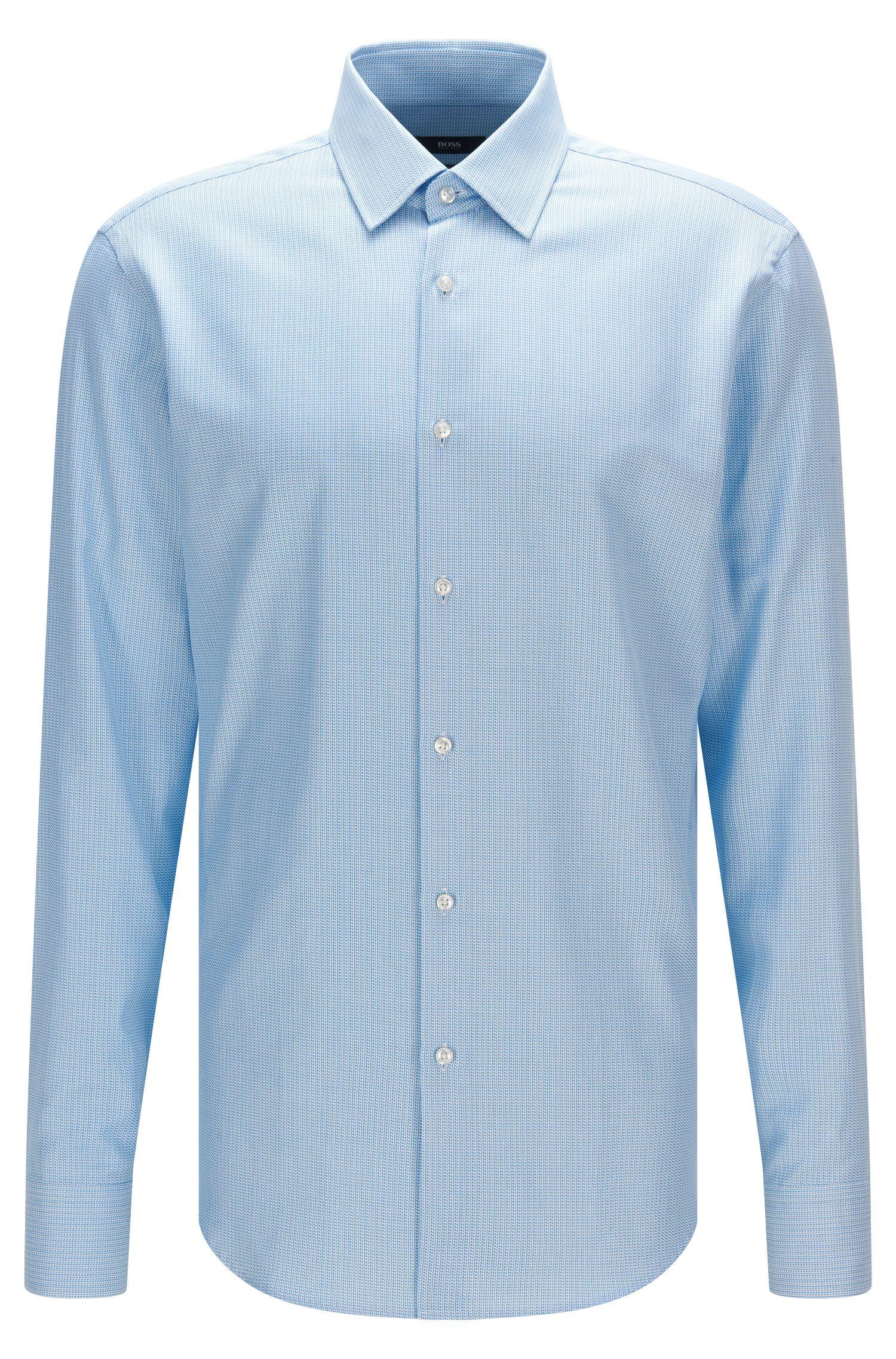 Camisa regular fit de algodón con microtextura