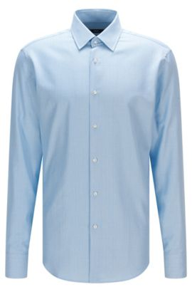 Camicia regular fit in cotone microstrutturato, Turchese