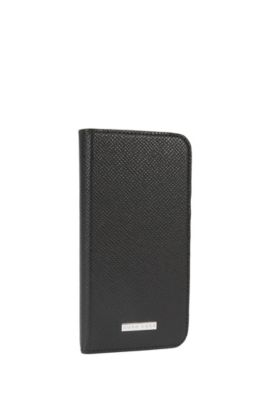 Signature Collection smartphone cover with flap in palmellato leather, Black