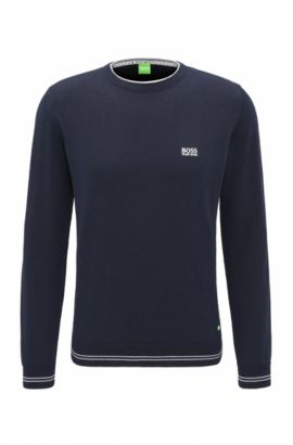 Regular-fit sweater in technical fabric, Dark Blue