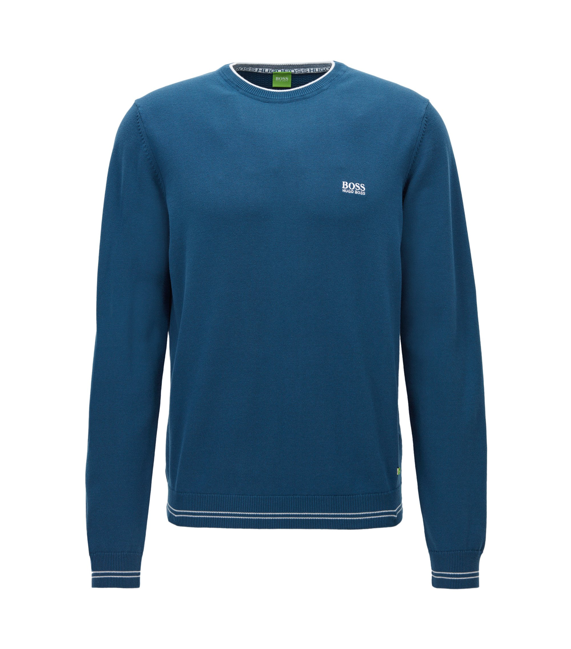 Regular-fit sweater in technical fabric, Blue