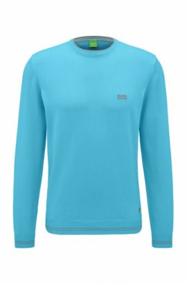 Regular-fit sweater in technical fabric, Open Blue