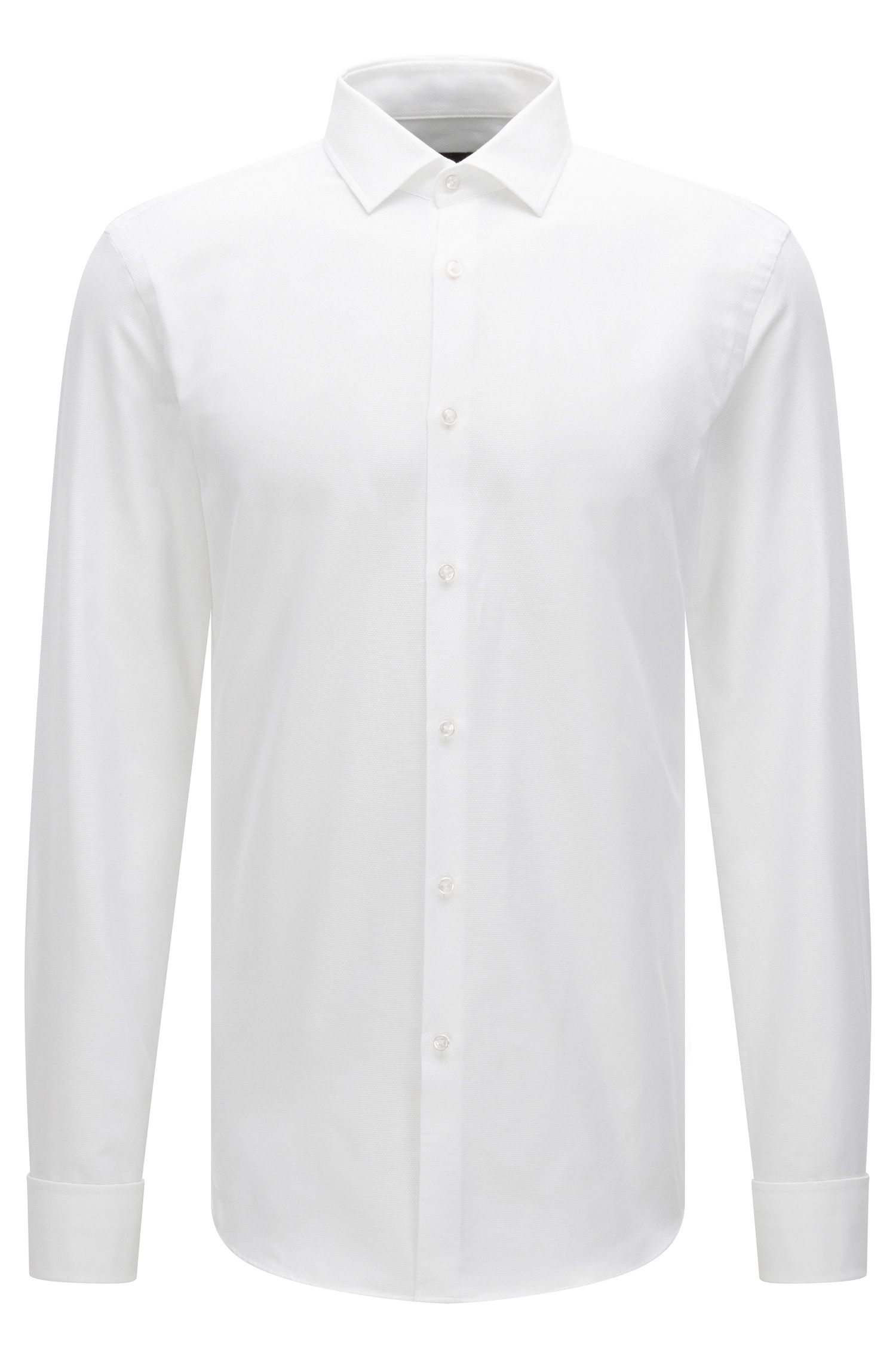 Slim-fit double-cuff shirt in micro-structured cotton