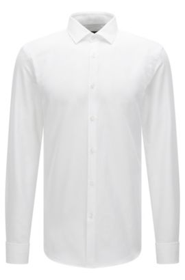 Slim-fit double-cuff shirt in micro-structured cotton , White