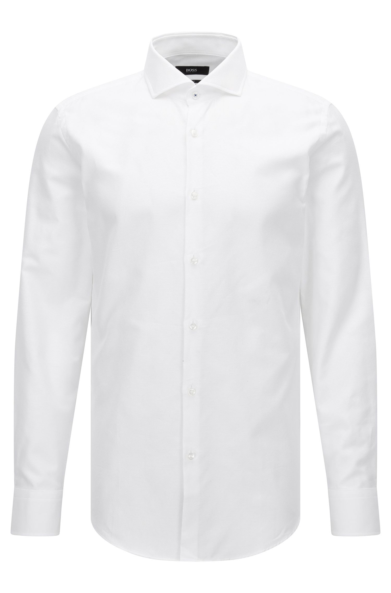 Slim-fit shirt in micro-structured cotton