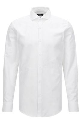 Slim-Fit-Hemd aus dezent strukturierter Baumwolle, Weiß