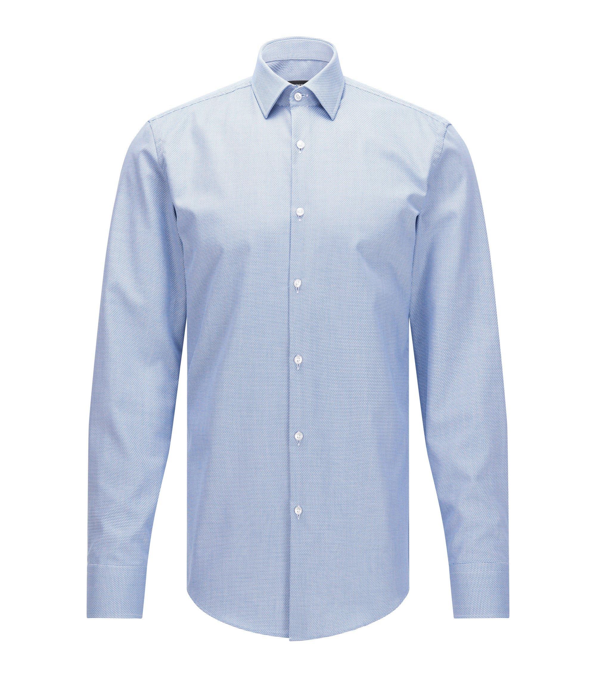 Slim-fit overhemd van gestructureerde katoen met Fresh Active-finish, Blauw