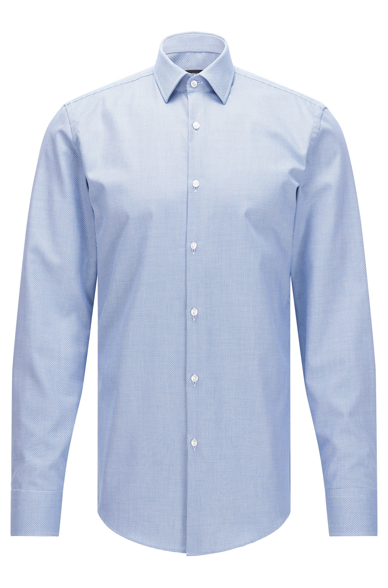 Slim-fit textured cotton shirt with Fresh Active finish