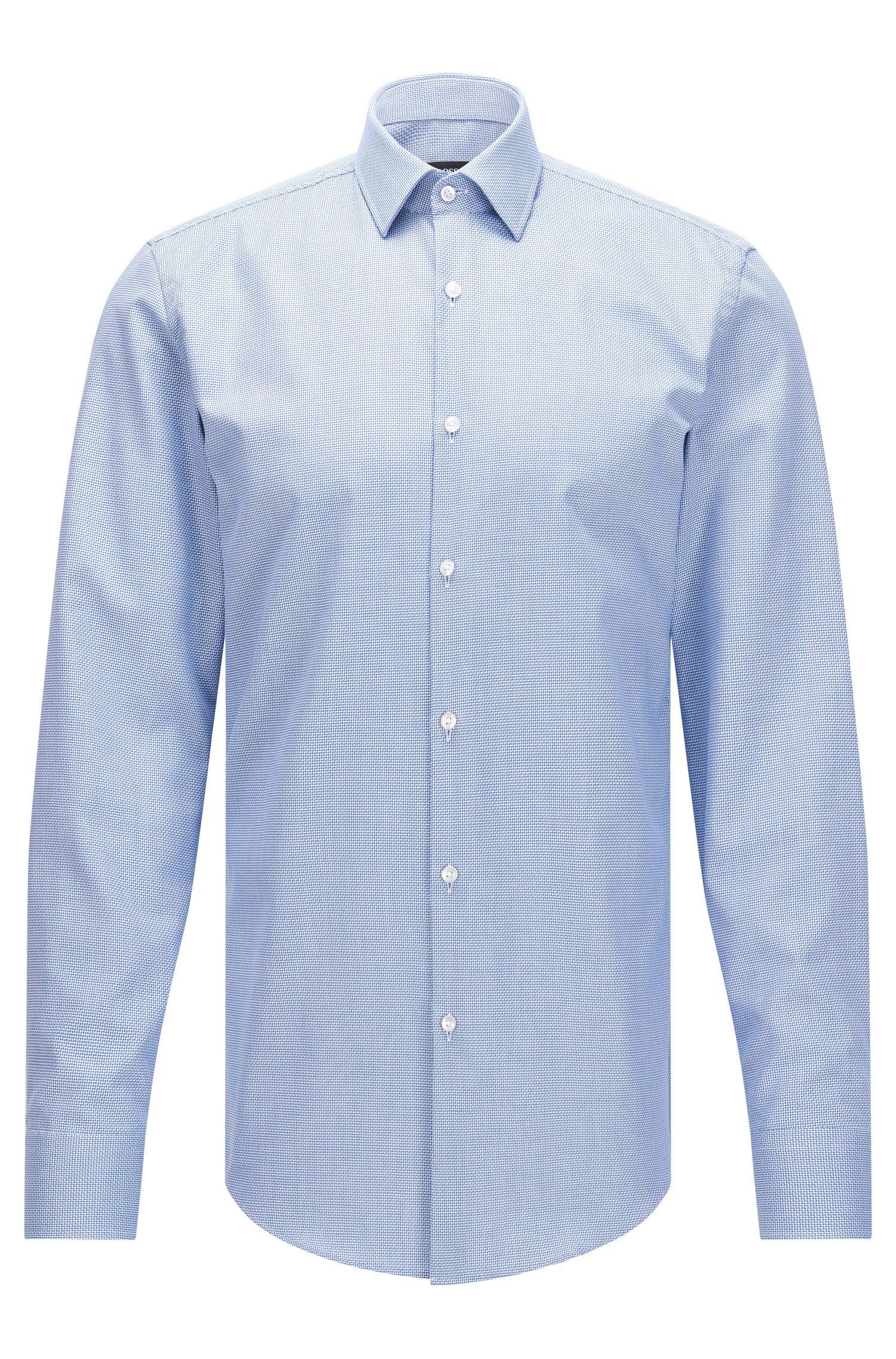 Slim-fit overhemd van gestructureerde katoen met Fresh Active-finish