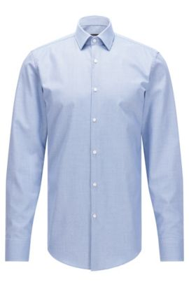 Camicia slim fit in cotone lavorato con finitura Fresh Active, Blu