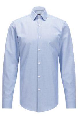 Camisa de algodón con textura slim fit y acabado Fresh Active, Azul
