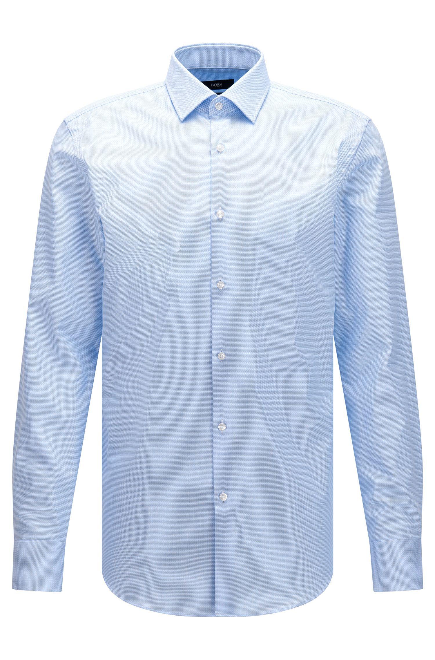 Camicia slim fit in cotone lavorato con finitura Fresh Active