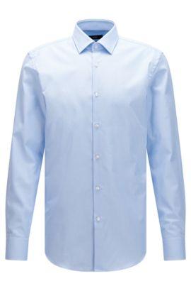 Slim-fit overhemd van gestructureerde katoen met Fresh Active-finish, Lichtblauw