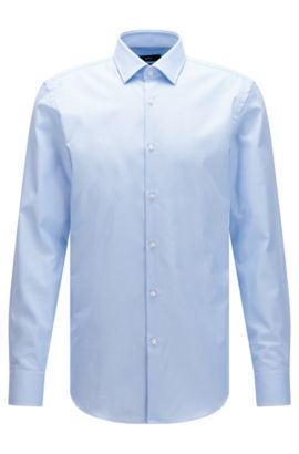 Camicia slim fit in cotone lavorato con finitura Fresh Active, Celeste