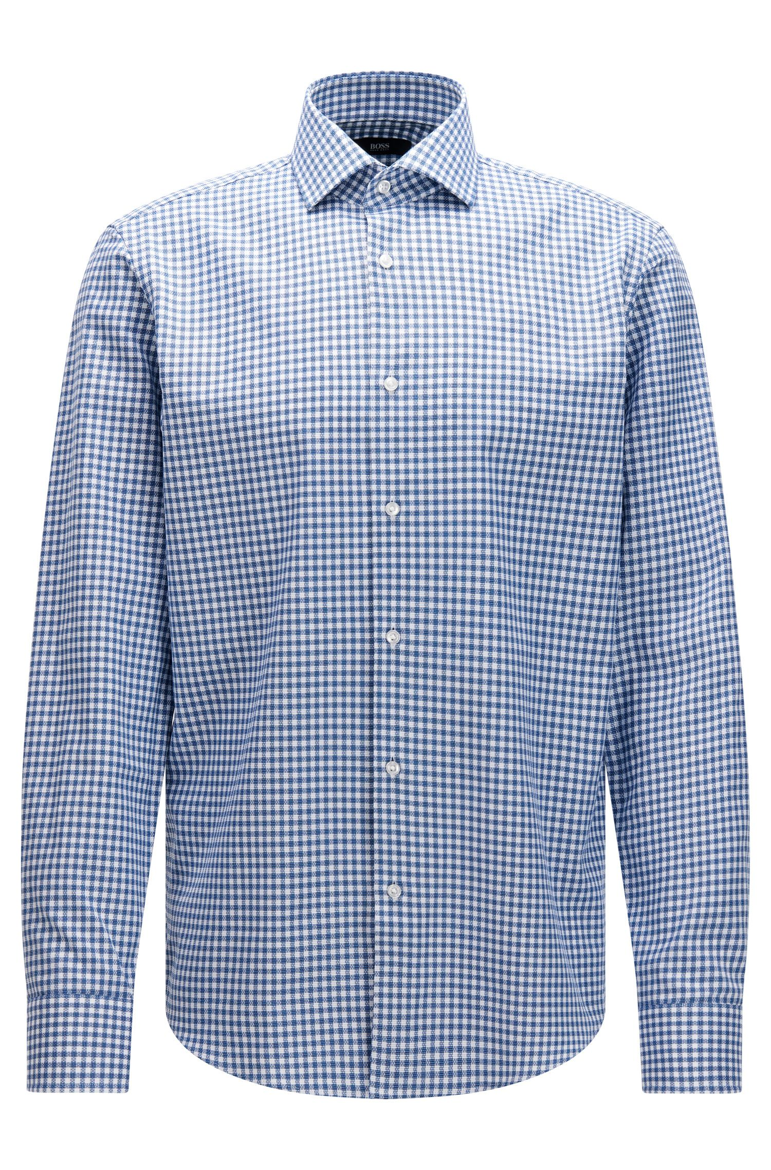 Regular-fit check cotton shirt with knitted effect