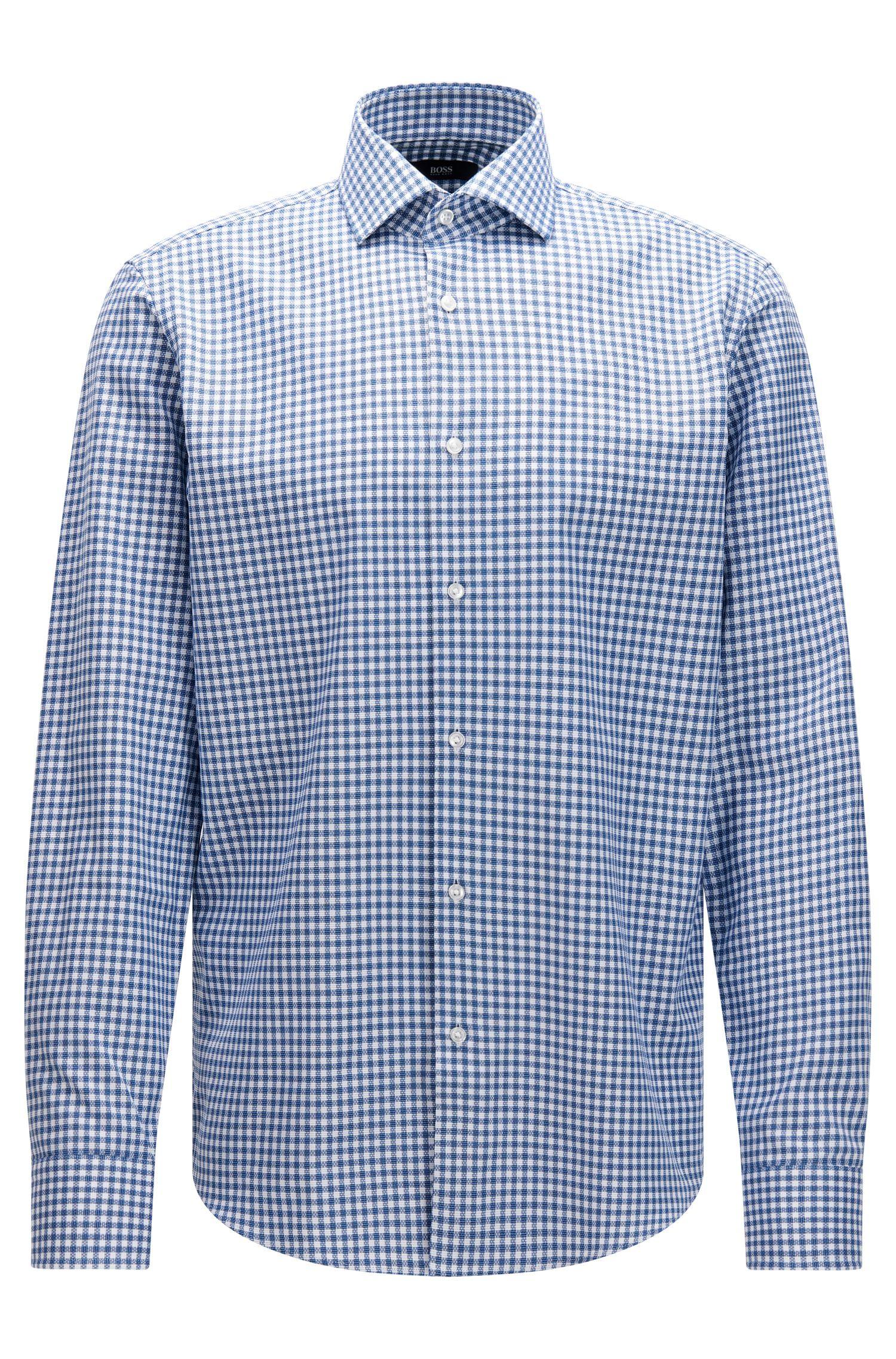 Camicia regular fit in cotone a quadri effetto maglia
