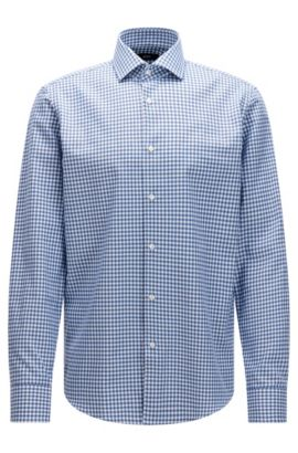 Regular-fit check cotton shirt with knitted effect , Blue