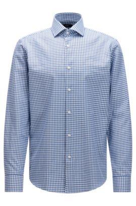 Kariertes Regular-Fit Hemd aus Baumwolle in Strick-Optik, Blau