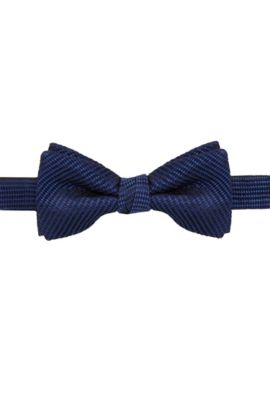 Butterfly bow tie in patterned silk, Dark Blue