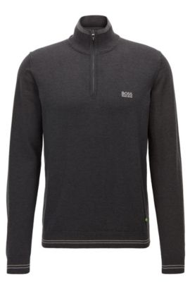 Regular-fit sweater in technical fabric, Anthracite