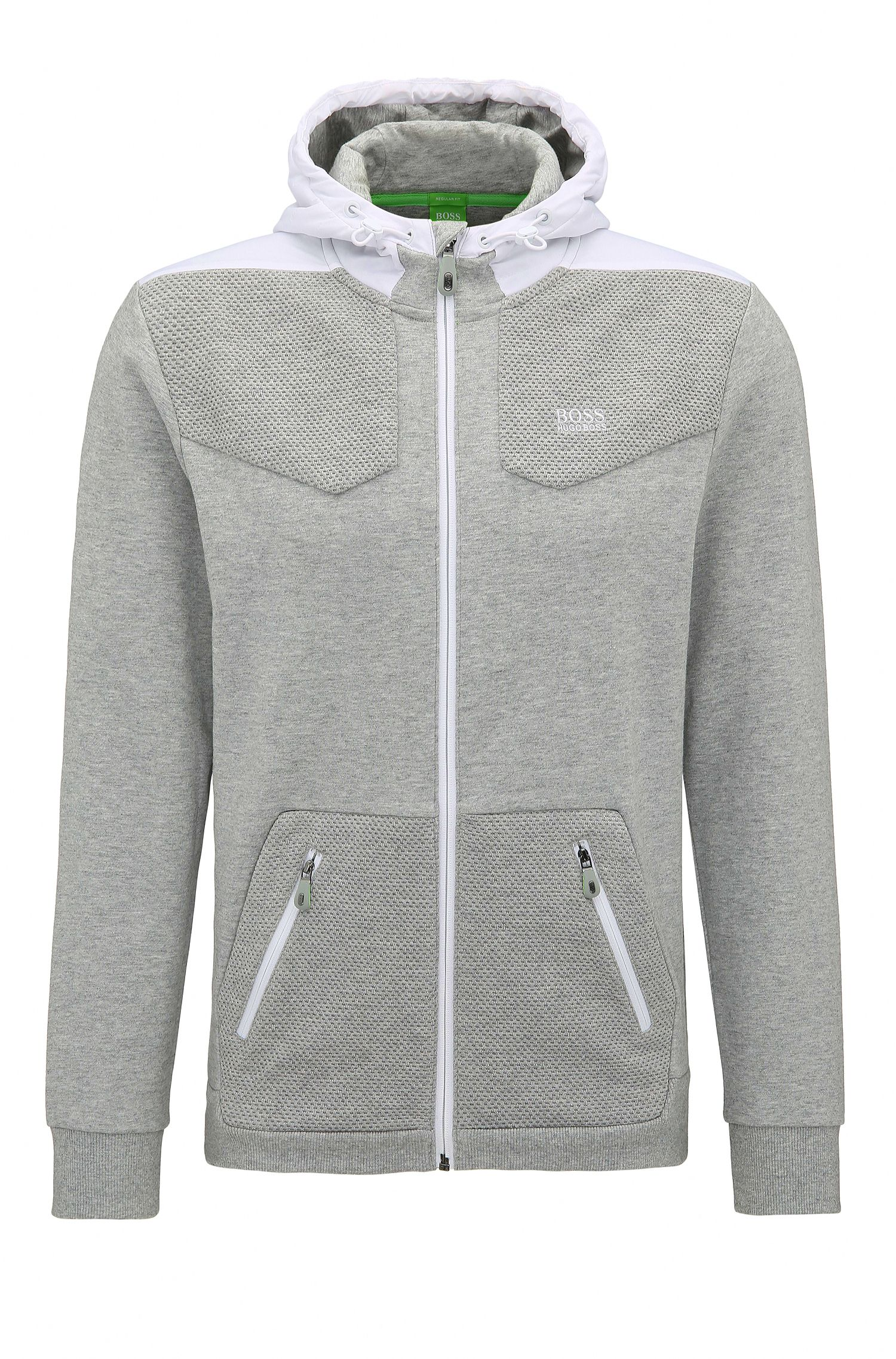 Regular-fit sweatshirt in hybrid fabrics