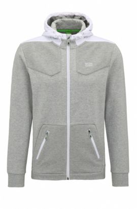 Regular-fit sweatshirt in hybrid fabrics, Light Grey