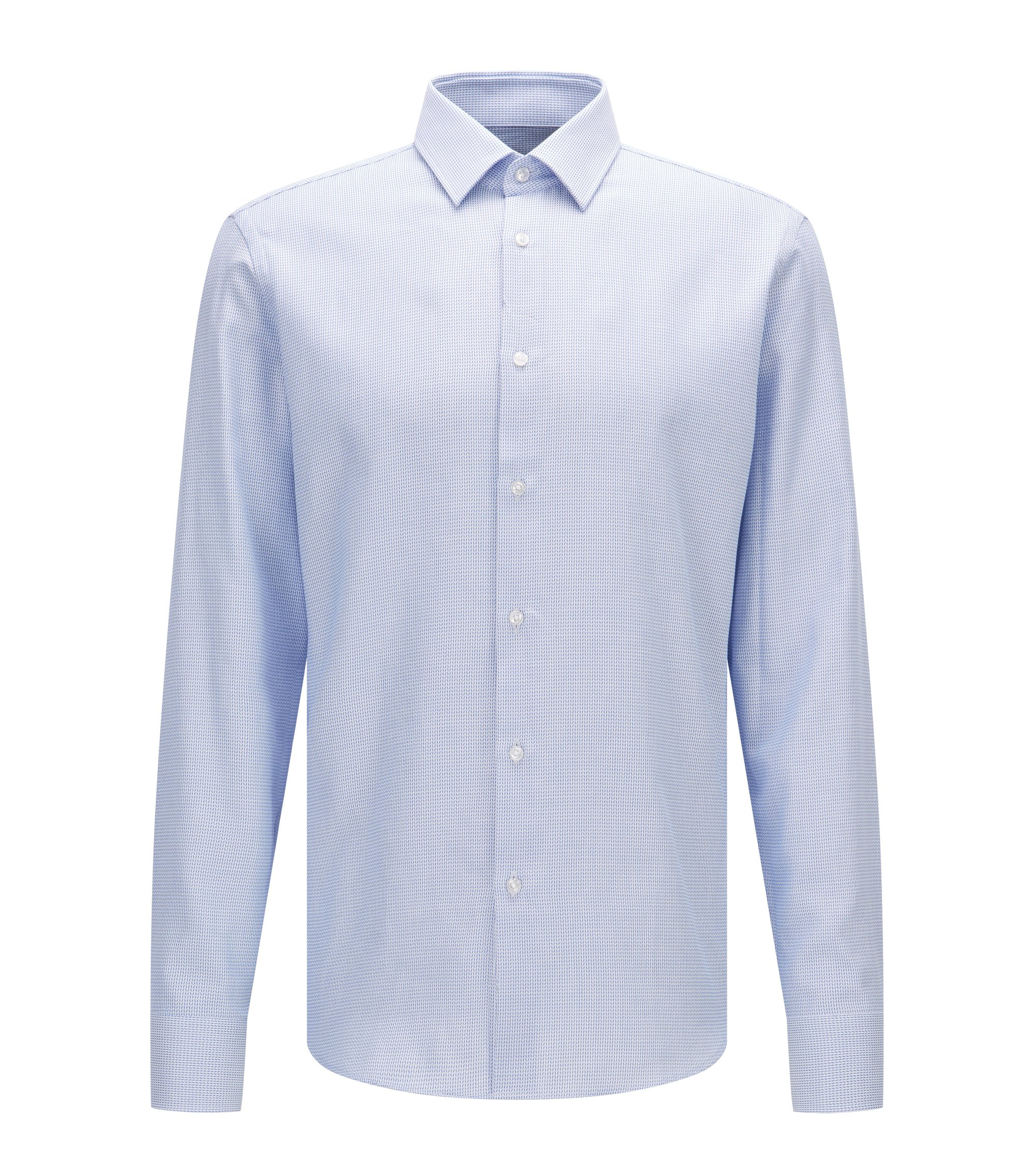 Regular-Fit Hemd aus Baumwolle mit feinem Fischgrätmuster, Hellblau