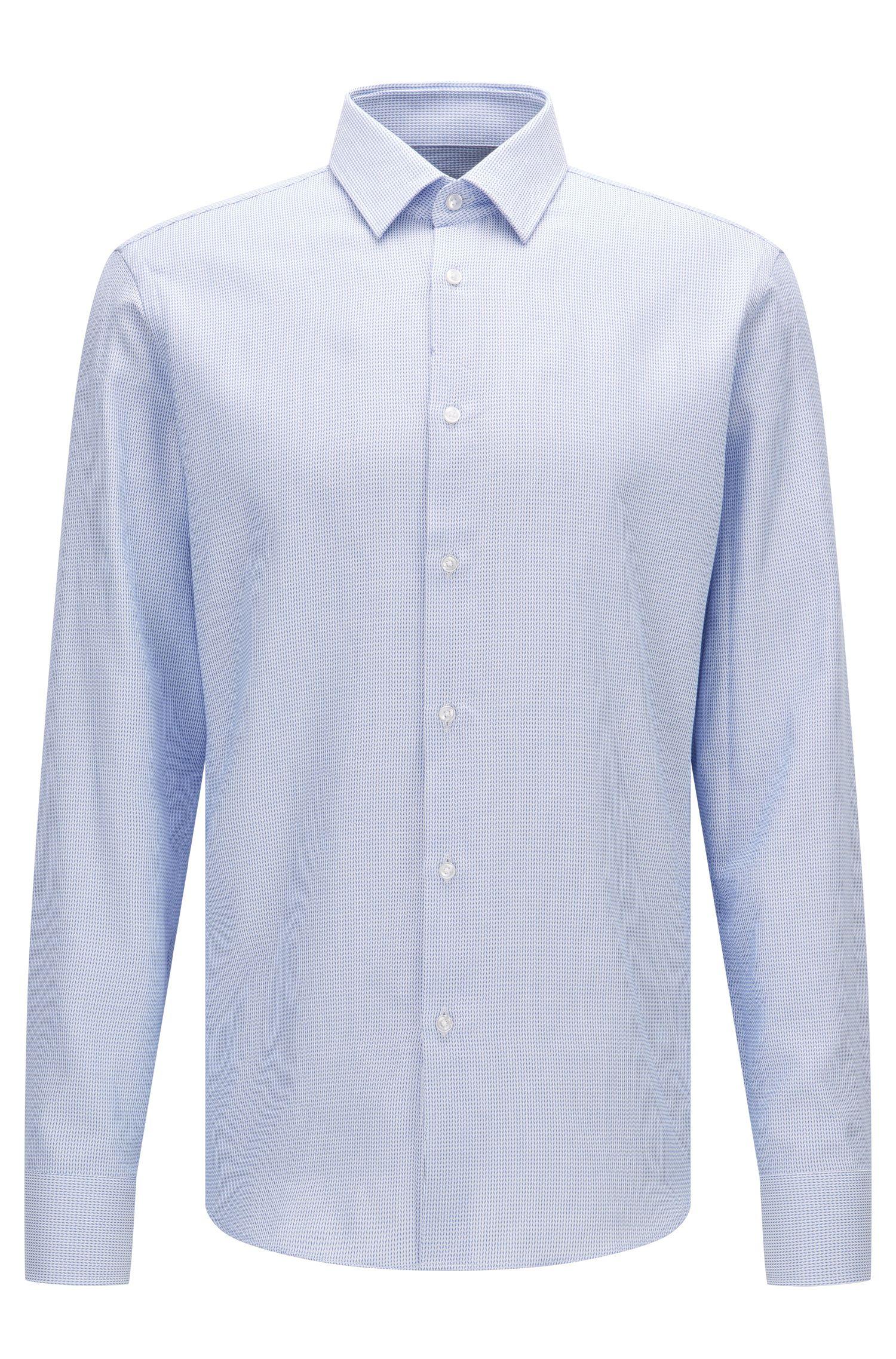 Regular-Fit Hemd aus Baumwolle mit feinem Fischgrätmuster