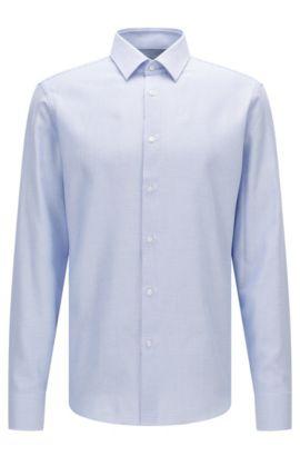 Regular-fit cotton shirt in fine herringbone pattern, Light Blue