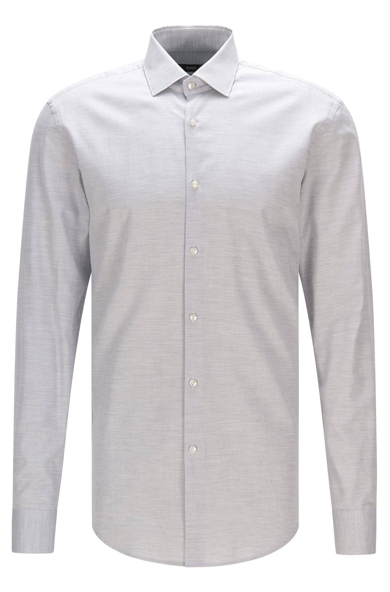 Regular-fit shirt in mélange cotton