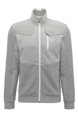Regular-Fit Sweatjacke aus Baumwoll-Mix, Hellgrau