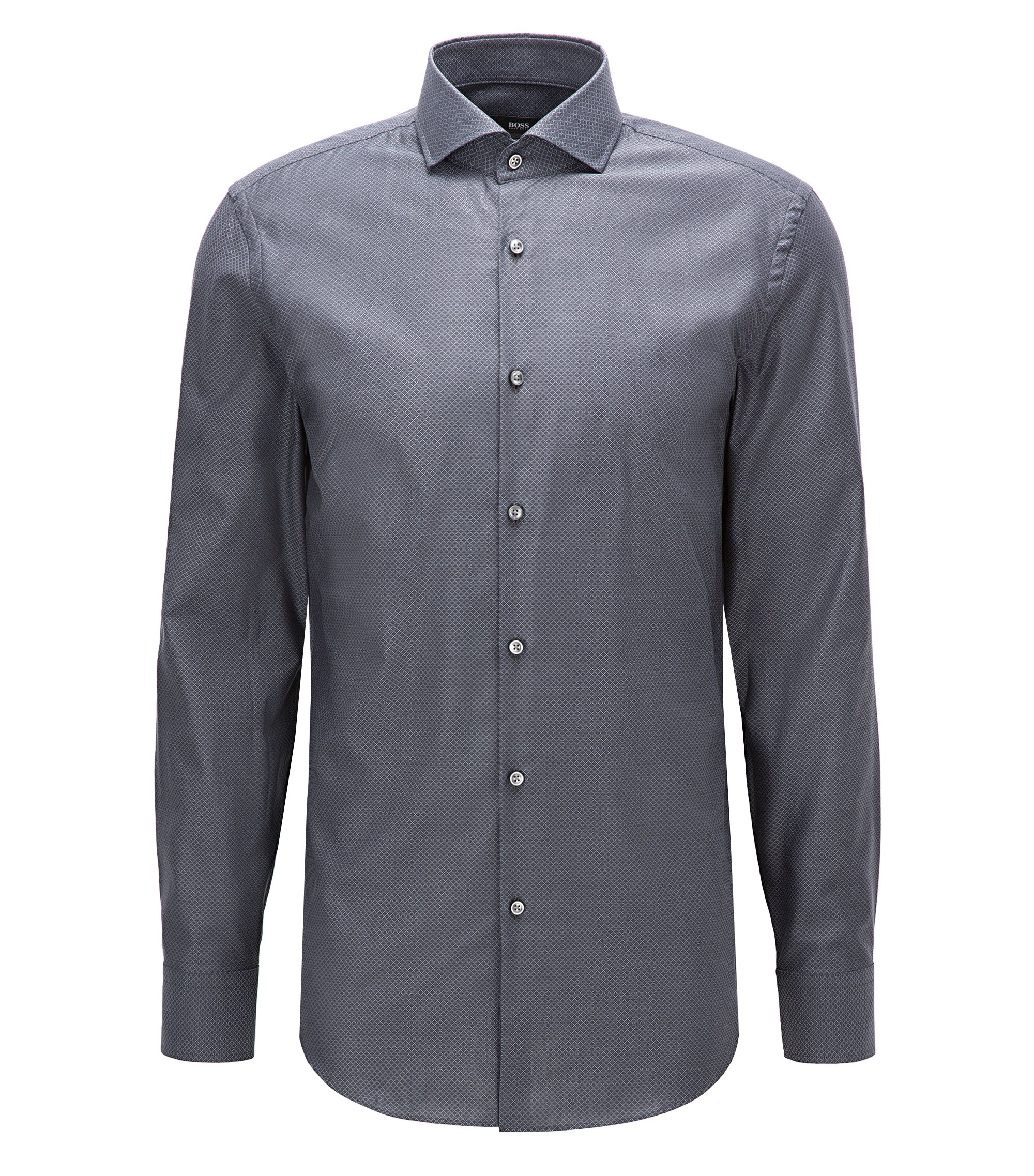 Chemise Slim Fit en coton bicolore structuré, Anthracite