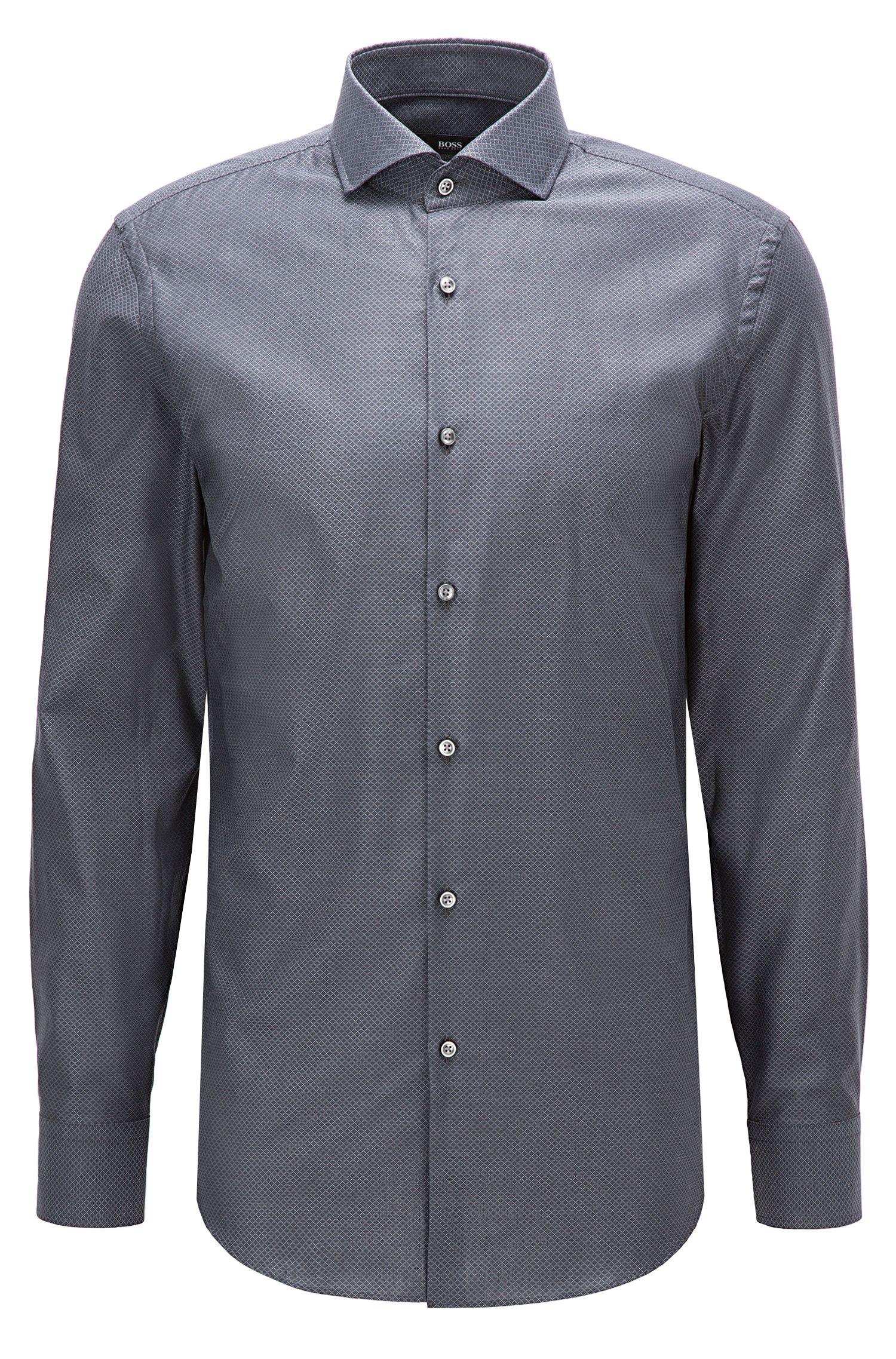Camicia slim fit in cotone lavorato bicolore
