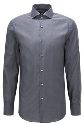 Camicia slim fit in cotone lavorato bicolore, Grigio antracite