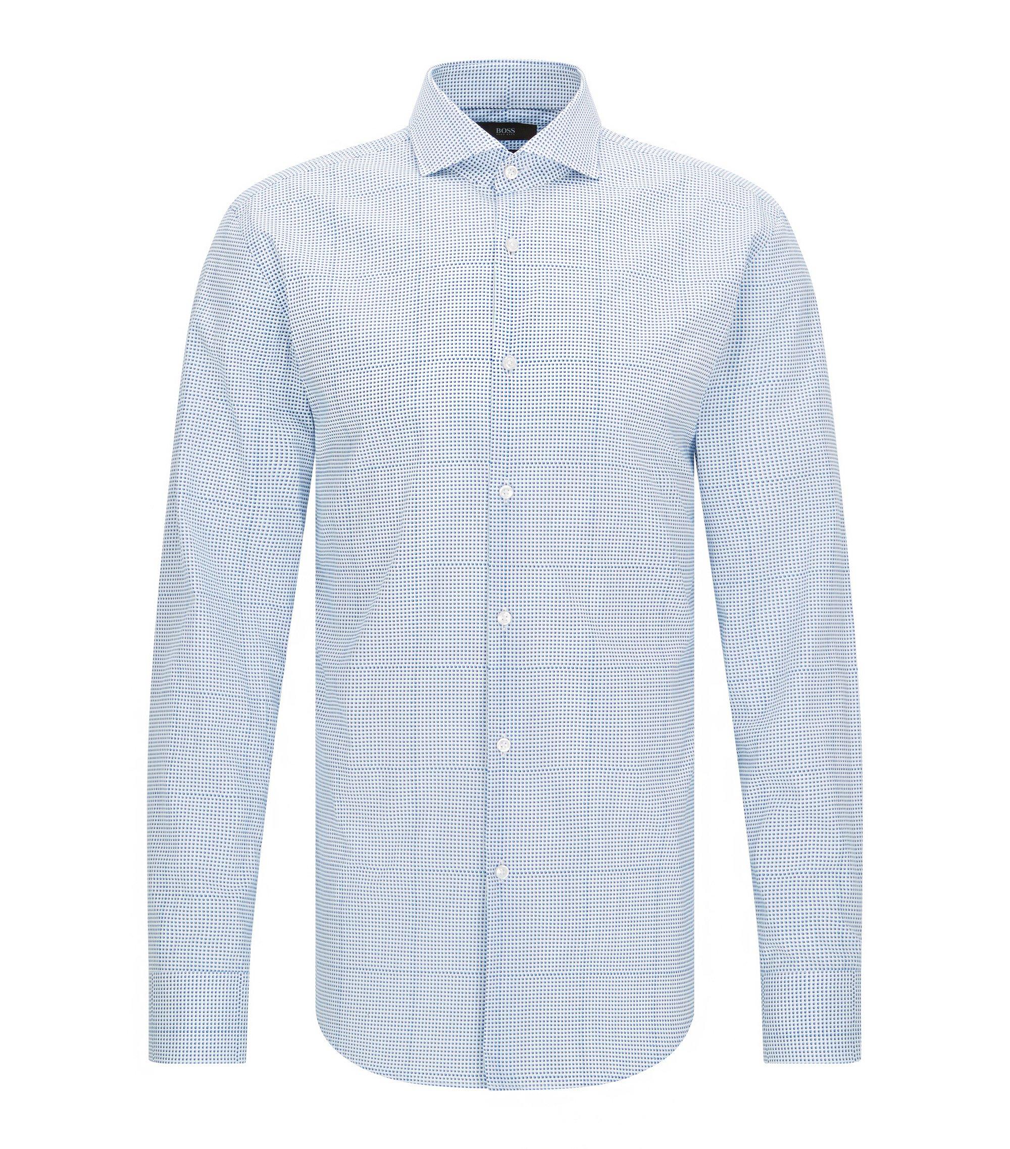 Slim-fit overhemd van katoen met trompe-l'œil-ruit, Turkoois