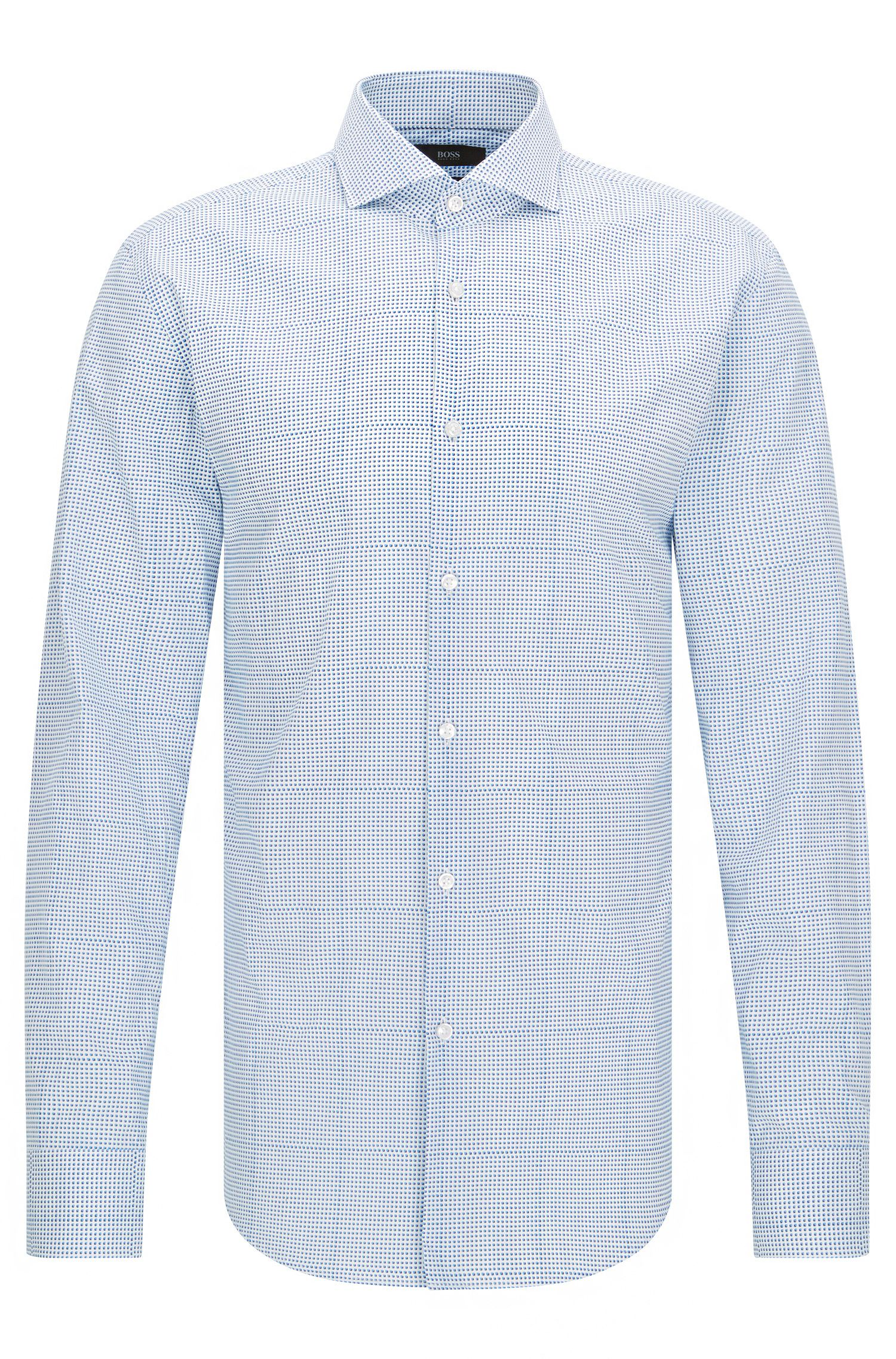 Slim-fit cotton shirt with trompe-l'œil check