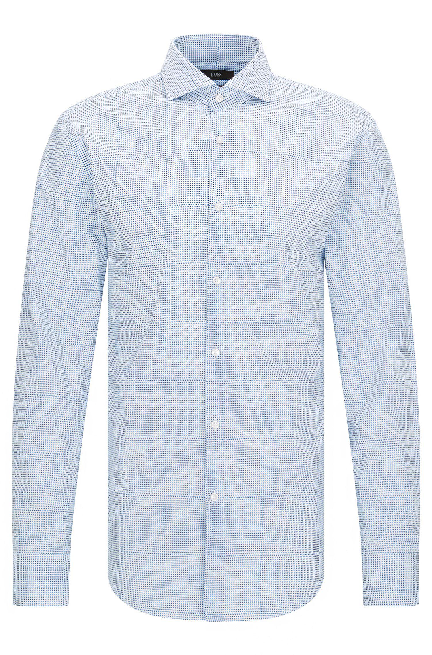 Camisa de algodón slim fit a cuadros con efecto trampantojo