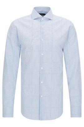 Camisa de algodón slim fit a cuadros con efecto trampantojo, Turquesa