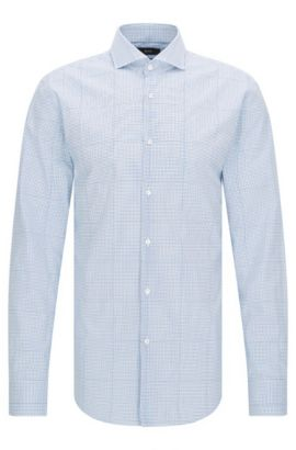 Slim-fit cotton shirt with trompe-l'œil check, Turquoise