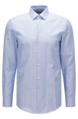Chemise Slim Fit en coton à microcarreaux, Bleu vif