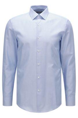 Camisa slim fit en algodón con microcuadros, Celeste