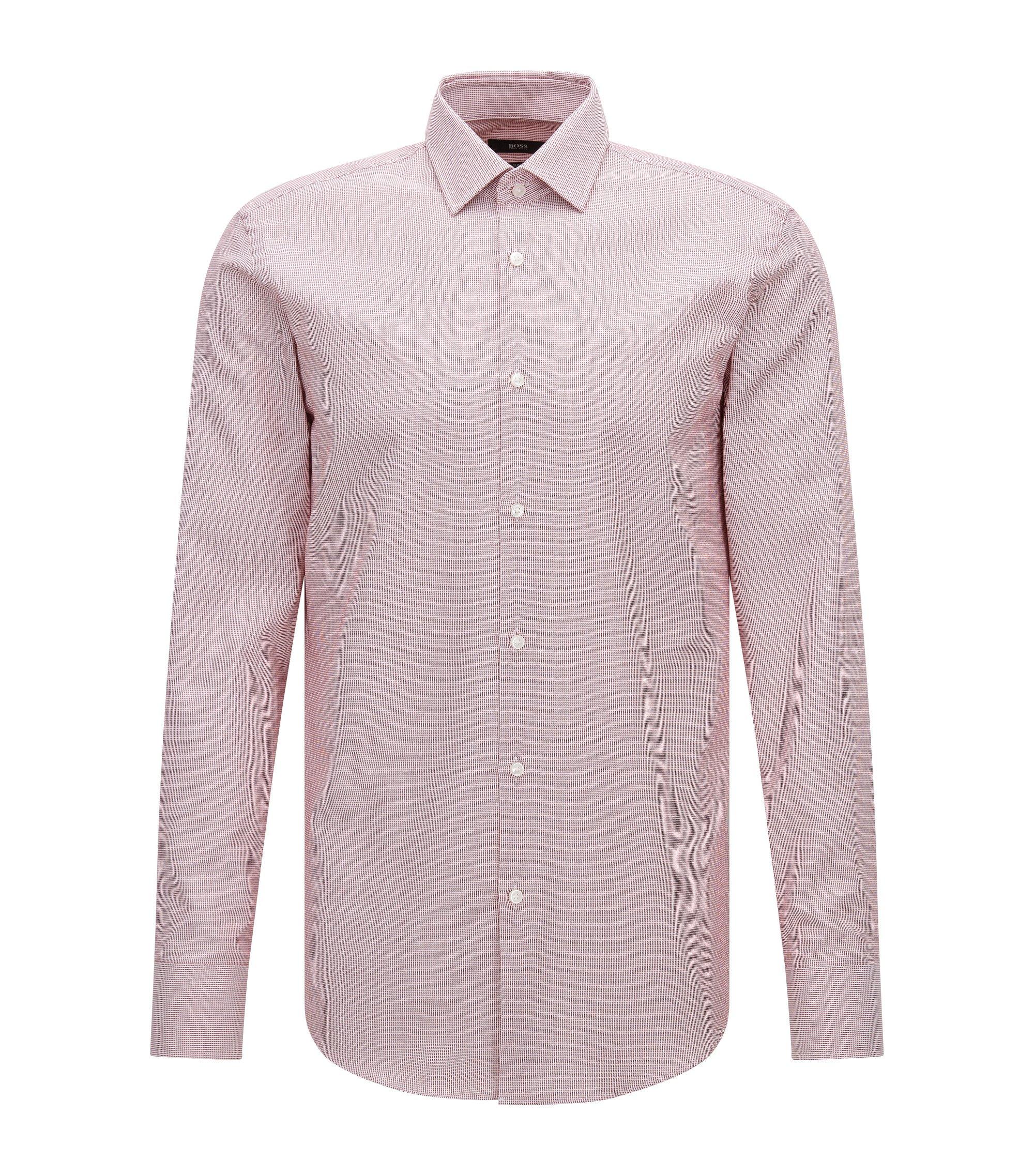 Camicia slim fit in cotone a microquadretti, Rosso