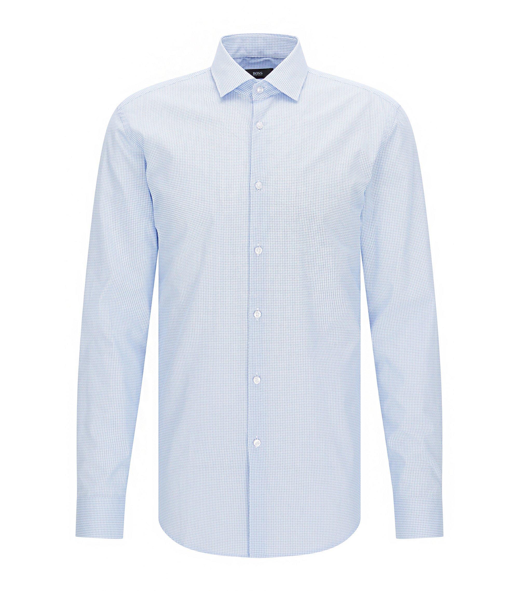 Gemustertes Slim-Fit Hemd aus Baumwoll-Popeline, Hellblau