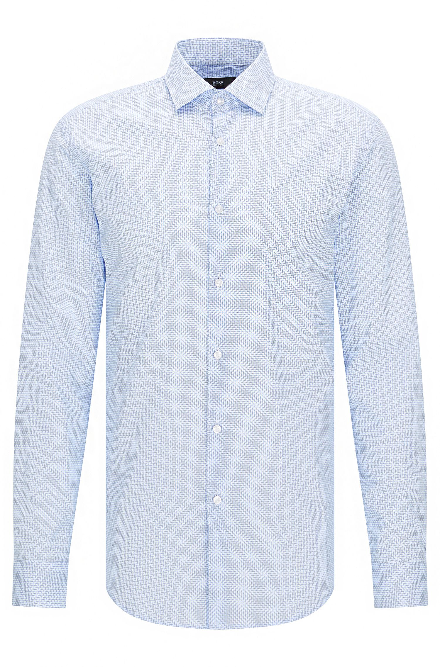 Slim-fit cotton poplin shirt with micro pattern