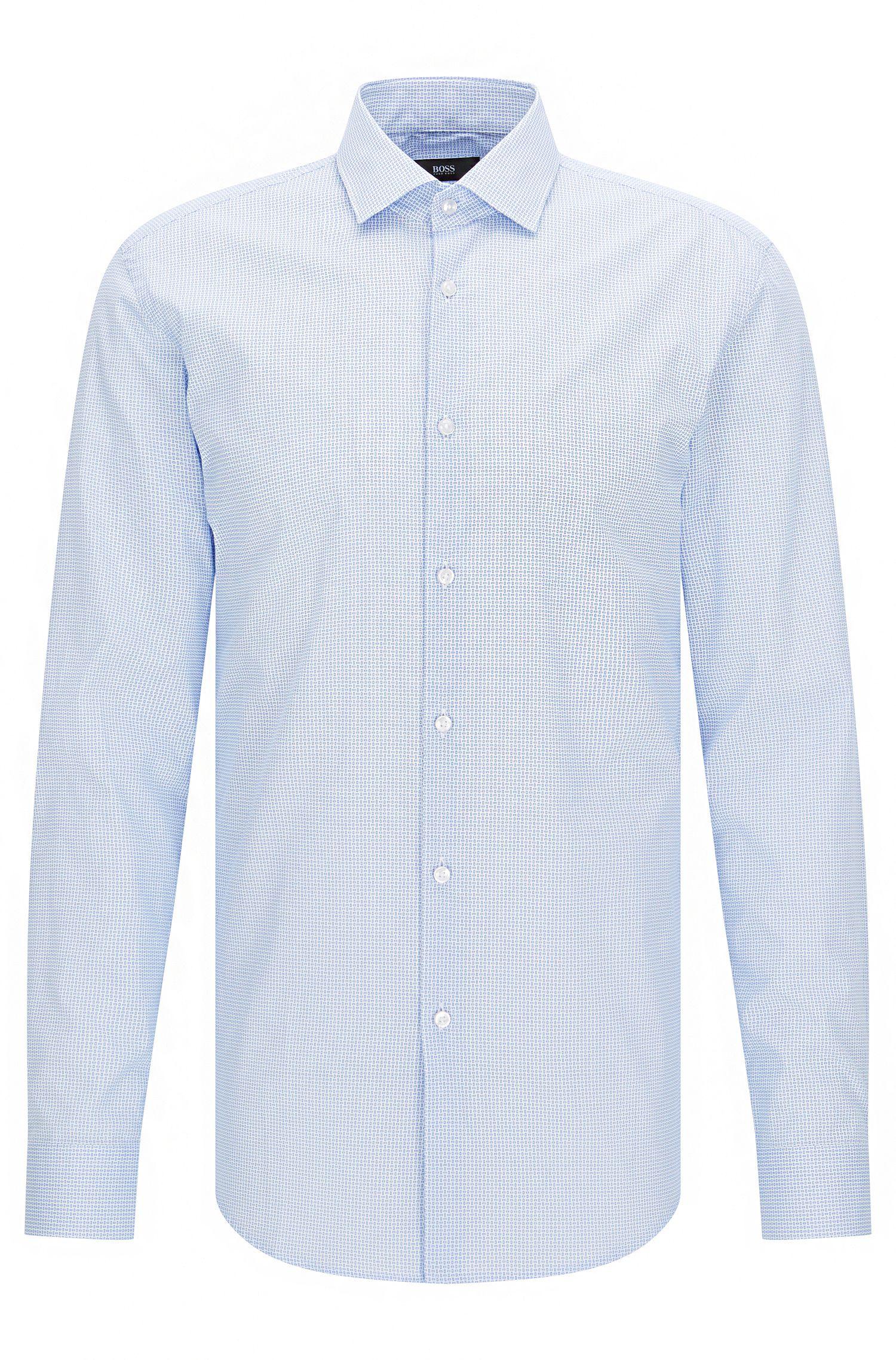 Slim-fit overhemd van katoenen popeline met microdessin