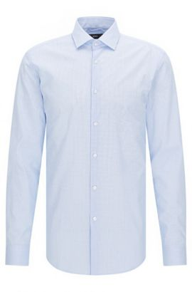 Slim-fit cotton poplin shirt with micro pattern, Light Blue