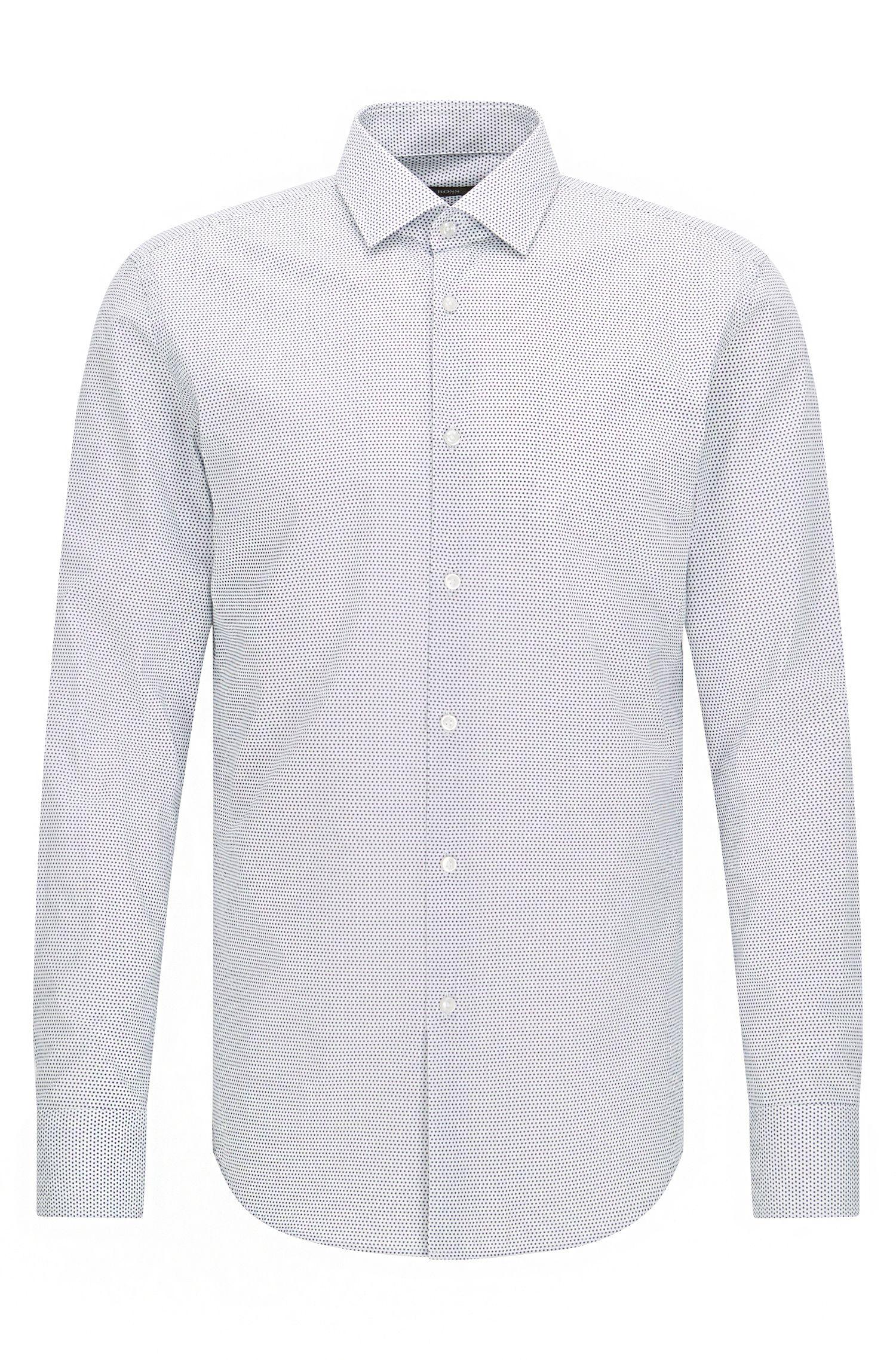 Camisa slim fit de popelín de algodón con estampado de lunares