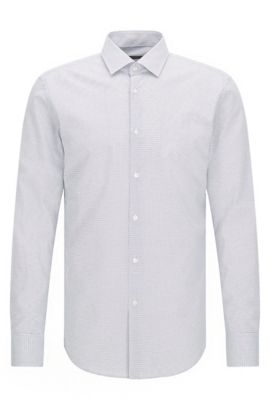 Slim-fit cotton poplin shirt with polka dot motif, White